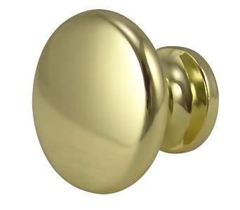 1 1/8 Inch Polished Brass Flat Top Cabinet Knob