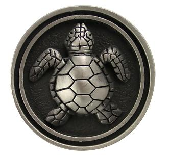 1 3/8 Inch Raised Turtle Satin Pewter Knob