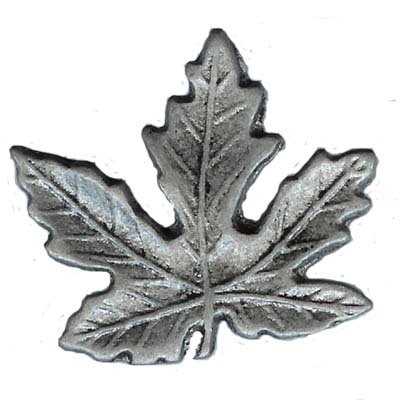 2 Inch Metal Hardware - Maple Leaf Pewter Finish Metal Knob