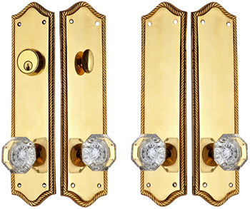 Georgian Roped Oval Double-Door Deadbolt Entryway Set (Polished Brass Finish)