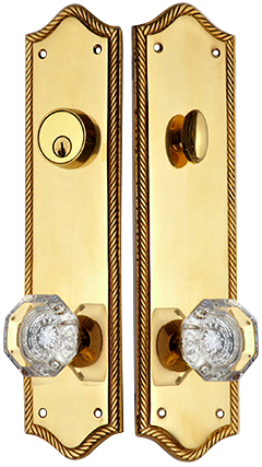 Georgian Roped Oval Single-Door Deadbolt Entryway Set (Polished Brass Finish)