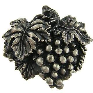 1 3/4 Inch Solid Pewter Antique Grapes And Vines Knob