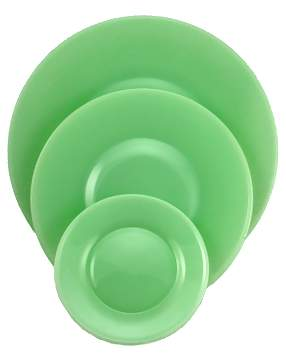 Nicole Pattern Salad, Lunch or Dinner Plates in Jade or Jadeite (Milk Green) Glass