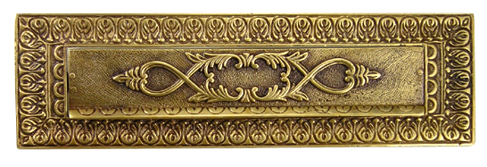 9 Inch Solid Brass Victorian Mail Slot (Antique Brass Finish)