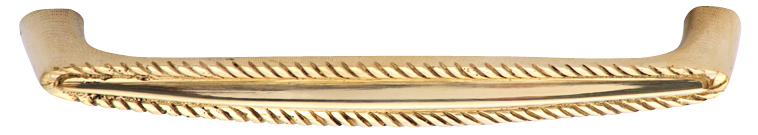 5 1/2 Inch Solid Brass Georgian Roped Style Pull (Polished Brass Finish)