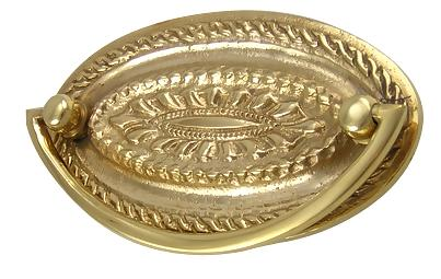 4 Inch Solid Brass Oval Drop Style Pull (Polished Brass Finish)