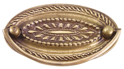 4 Inch Solid Brass Oval Drop Style Pull (Antique Brass Finish)
