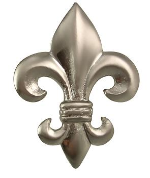 2 5/8 Inch Fleur de Lis Knob (Brushed Nickel Finish)