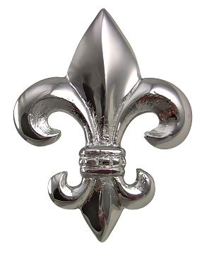 2 5/8 Inch Fleur de Lis Knob (Polished Chrome Finish)