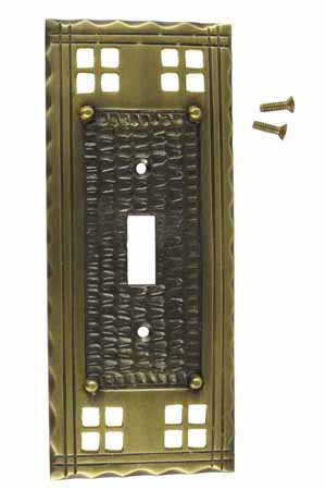 Solid Brass Craftsman Style Switch Plate (Antique Brass Finish)