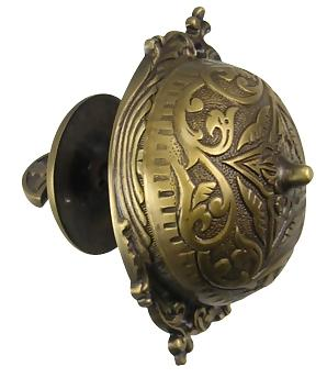 5 3/8 Inch Eastlake Mechanical Doorbell (Antique Brass Finish)