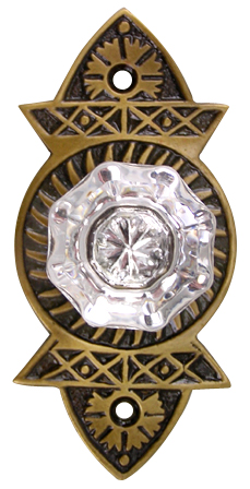 Crystal Cabinet Knob With an Antique Brass Plate