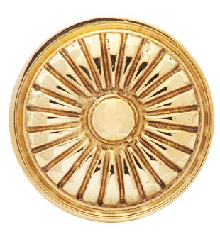 1 1/3  Inch Brass Art Deco Style Knob (Polished Brass Finish)