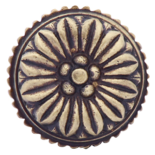 1 3/8 Inch Solid Brass Round Floral Knob (Antique Brass Finish)