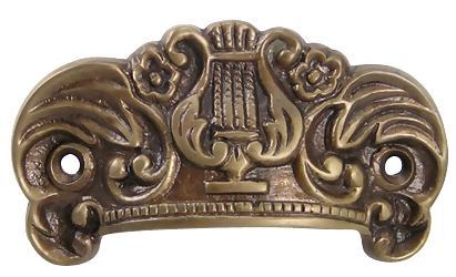 3 5/8 Inch Solid Brass Ornate Lyre Cup Pull (Antique Brass Finish)
