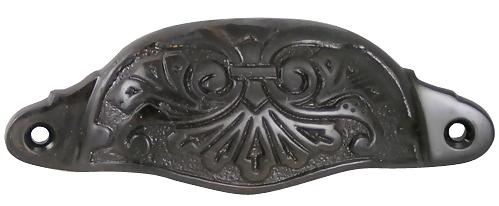 4 3/8 Inch Solid Brass Ornate Victorian Scroll Cup or Bin Pull (Oil Rubbed Bronze Finish)
