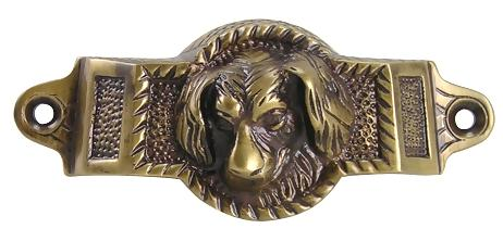 4 Inch Solid Brass Golden Retriever Rectangular Cup Pull (Antique Brass Finish)