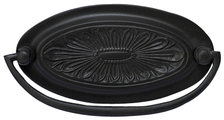 4 1/2 Inch Solid Brass Oval Drop Style Pull  (Oil Rubbed Bronze)
