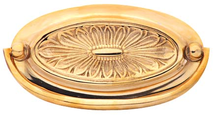 Hepplewhite - Oval Drop Pull in Polished Brass