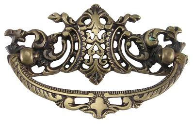 4 Inch Solid Brass Ornate Victorian Bail Pull (Antique Brass Finish)