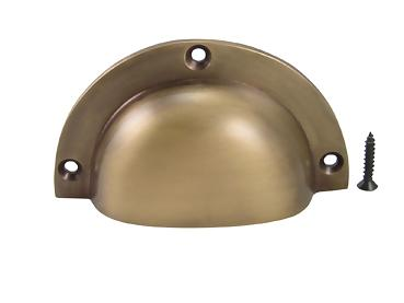 3 1/2 Inch Solid Brass Traditional Cup Pull (Antique Brass Finish)