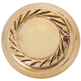 1 Inch Solid Brass Georgian Roped Round Knob (Polished Brass Finish)