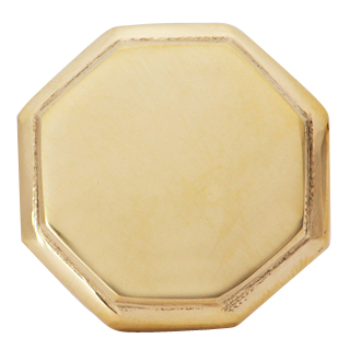 1 5/8 Inch Solid Brass Octagonal Cabinet Knob (Polished Brass Finish)
