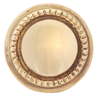 1 1/4 Inch Solid Brass Round Knob with Beaded Pattern Border (Polished Brass Finish)