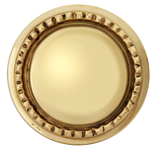1 1/2 Inch Solid Brass Beaded Round Knob (Polished Brass Finish)