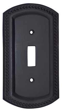 Solid Brass Switch Plate Beaded Border (Oil Rubbed Bronze Finish)