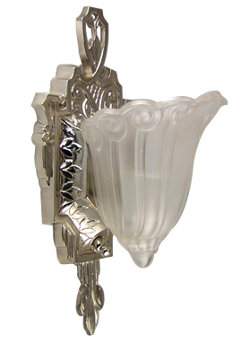 Period Style Art Deco Wall Sconce (Frosted Glass Shade)