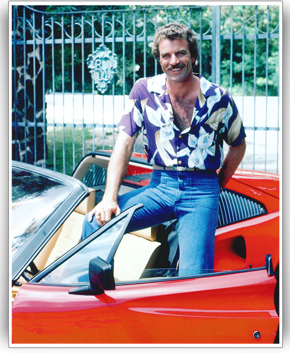 bef5c73d1e8e3d Tom Selleck wearing a Calla Lily print made by Paradise Found