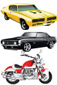 Motorcycles,muscle cars, and automobiles