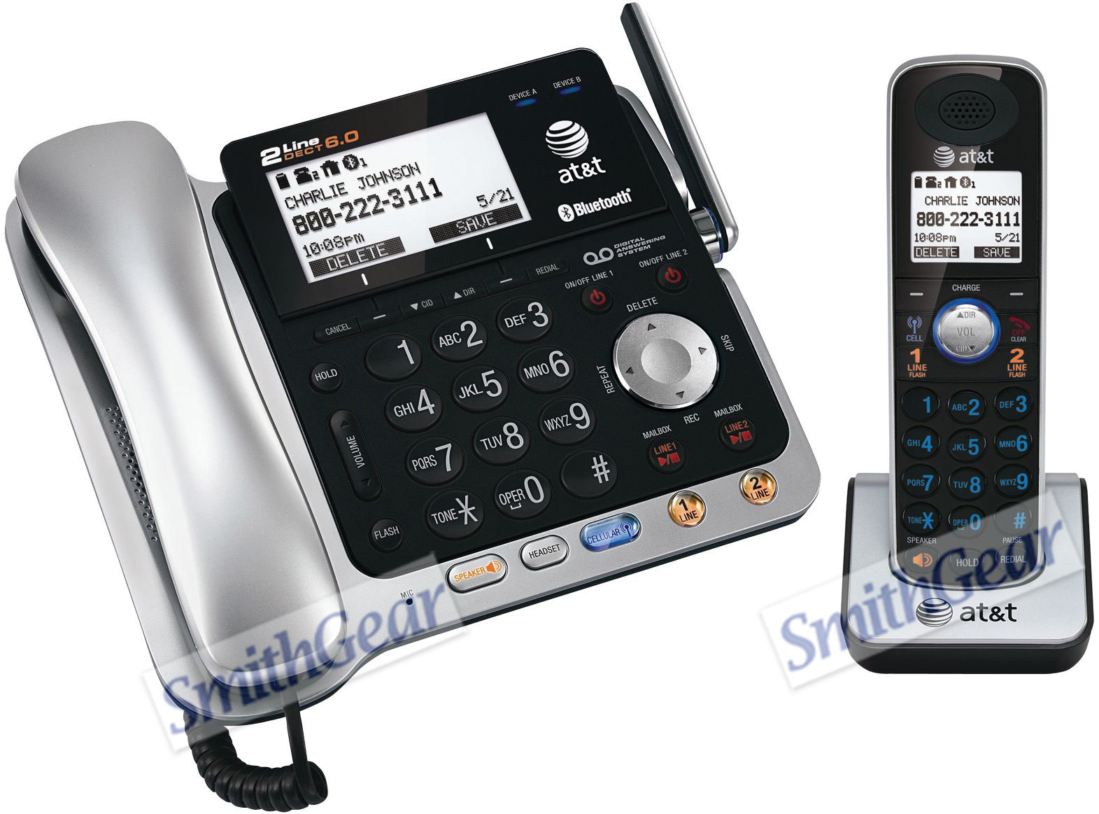 at t tl86109 2 line bluetooth cordless phone system rh smithgear com att landline phone manual online Walmart Landline Phones