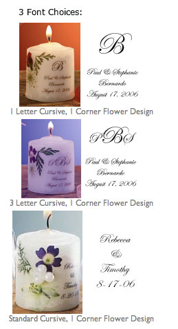 Candle Wedding Favor Fonts