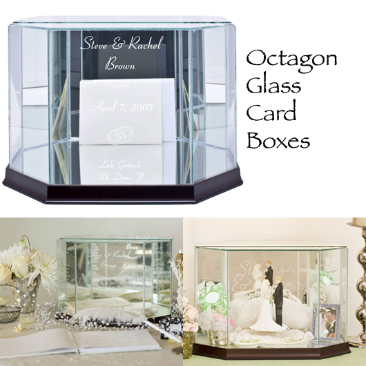 Octagon Personalized Glass Card Box