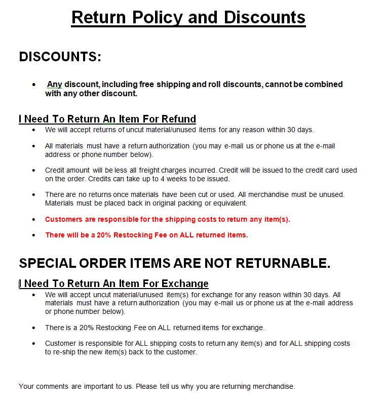 Return Policy and Discounts
