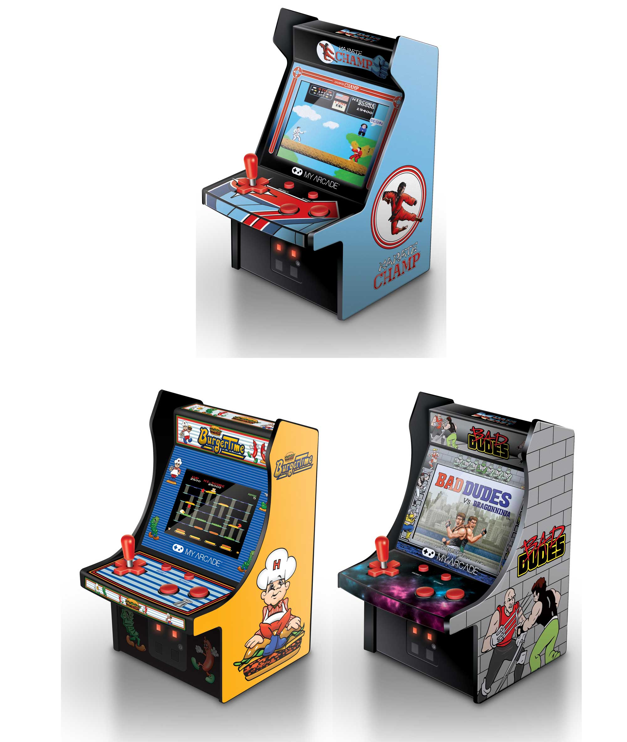 my arcade burgertime bad dudes karate champ retro micro arcade machine game ebay. Black Bedroom Furniture Sets. Home Design Ideas