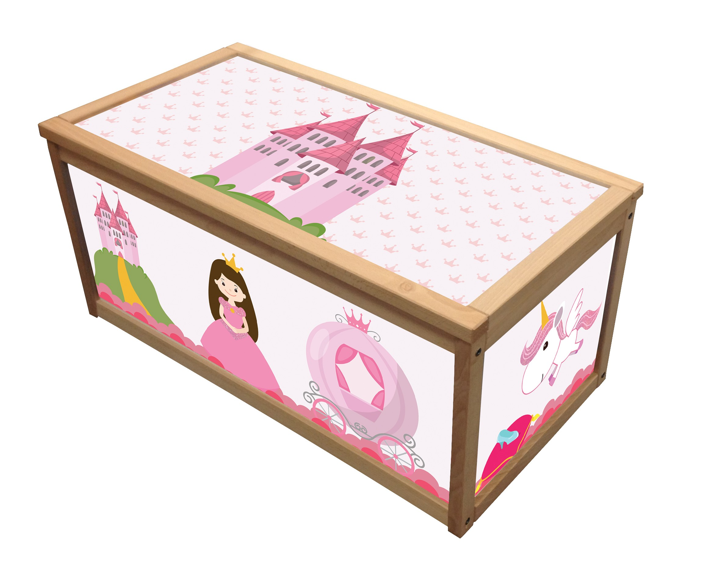 princess wooden toy box storage unit for girls children kids toys chest boxes 7105272287432 ebay. Black Bedroom Furniture Sets. Home Design Ideas
