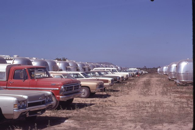 Details about CARS & TRUCKS PARKED IN FRONT OF AIRSTREAM TRAVEL TRAILERS  1972 PHOTO SLIDE