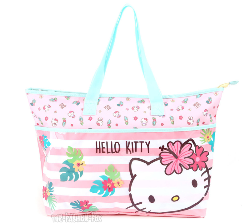 e38d7d9268f0 You are viewing a New Sanrio Hello Kitty Tropical Pink Beach Tote Travel  Shopper Bag. Perfect for a trip to the beach or the shopping mall