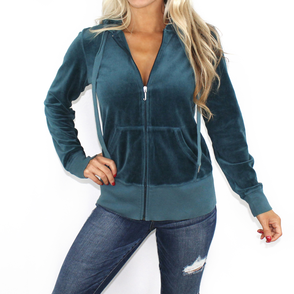 You are viewing a guaranteed authentic Women s Vintage Juicy Couture Velour  Dolman Zip Hoodie Jacket in Hitch (Teal) size Large (L). 7b2e2edf52