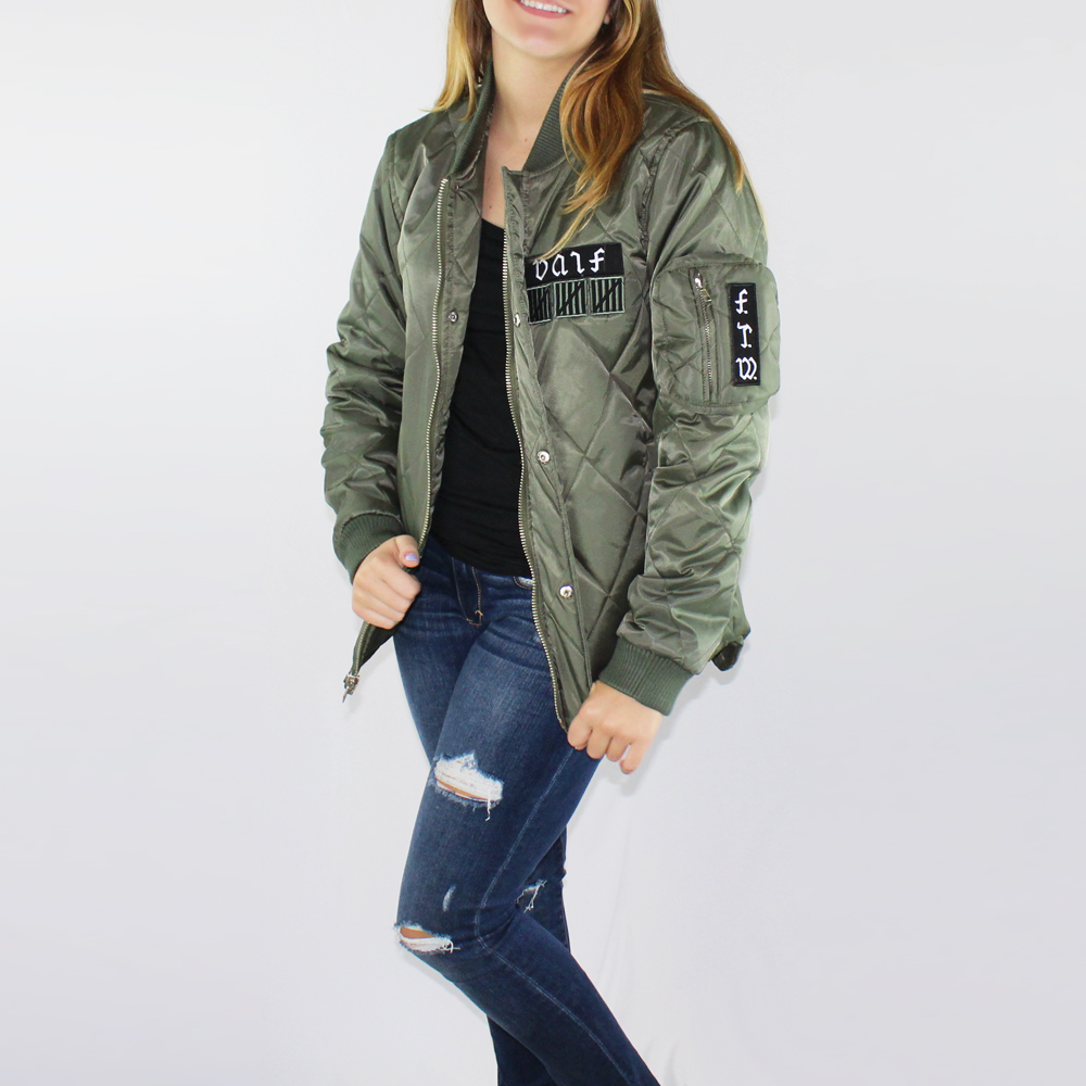 New Unif Women S Quilted Satin Wtf Patch Service Bomber